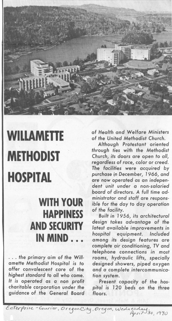 1970 newspaper advert for Willamette Methodist Hospital