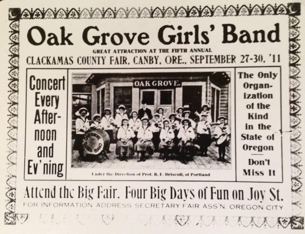Oak Grove Girls Band ad 1911- cropped