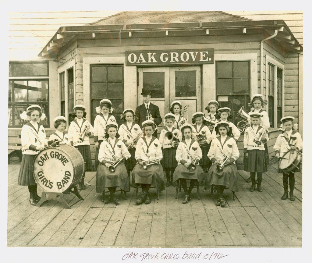 Photo of the Oak Grove Girls Band ca. 1912