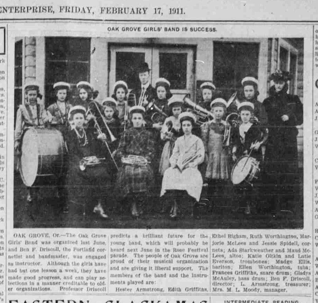 Oak Grove Girls Band photo 17 Feb 1911