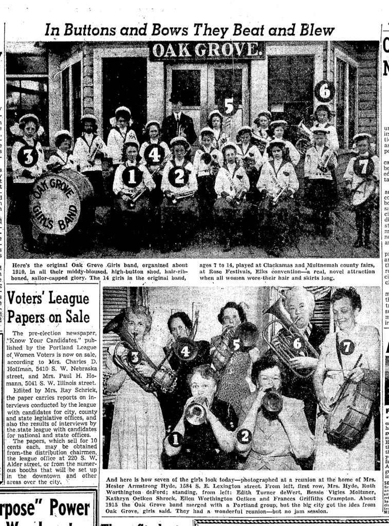 Oak Grove Girls Band reunion; 25 April 1954