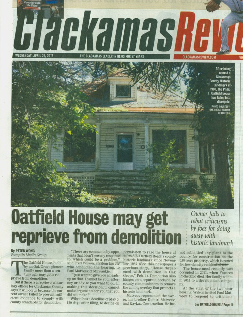 Image of Clackamas Review front page cover story - Oatfield House Reprieve, page 1