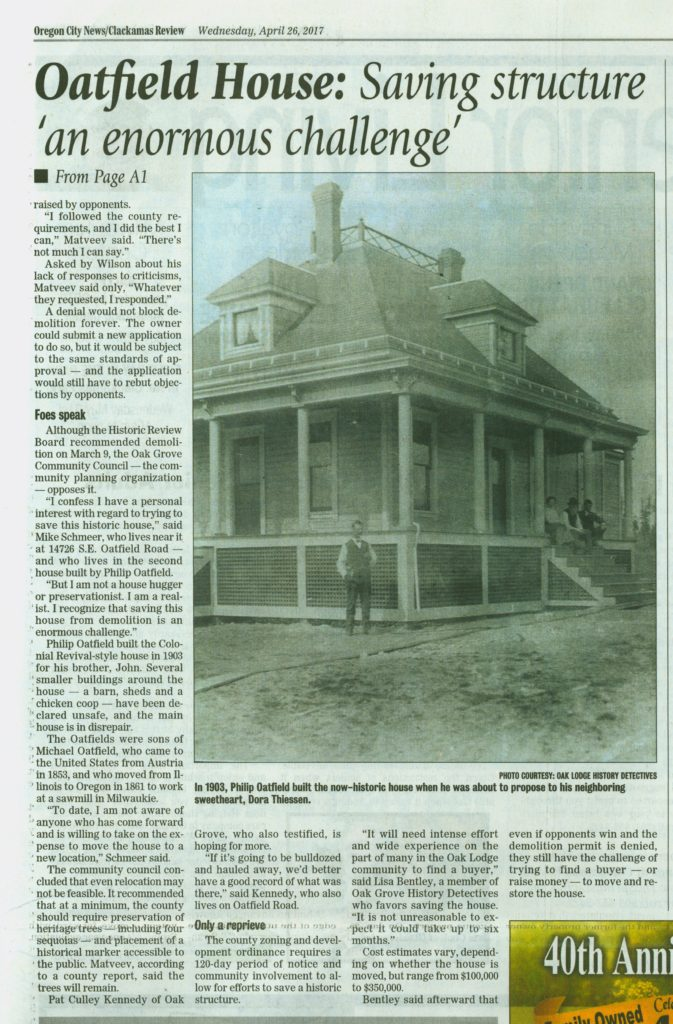 Image of Clackamas Review front page cover story - Oatfield House Reprieve, page 2
