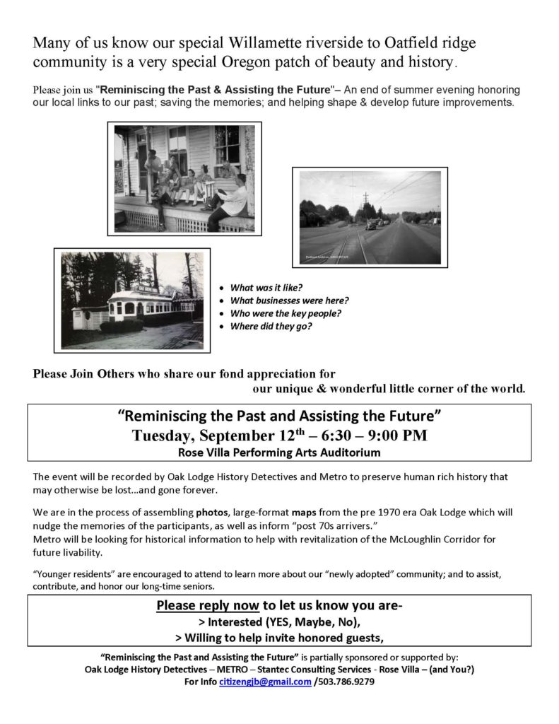 "Flyer for the ""Reminiscing the Past and Assisting the Future"" Event"