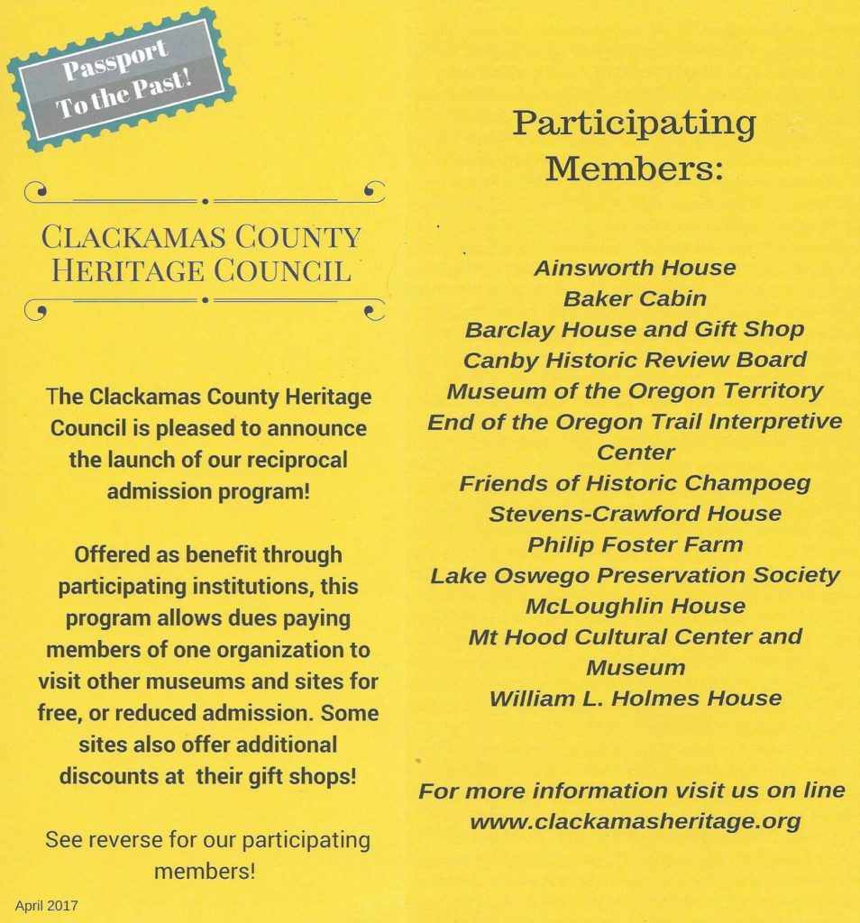 OLHD member benefits through the Clackamas County Heritage Council