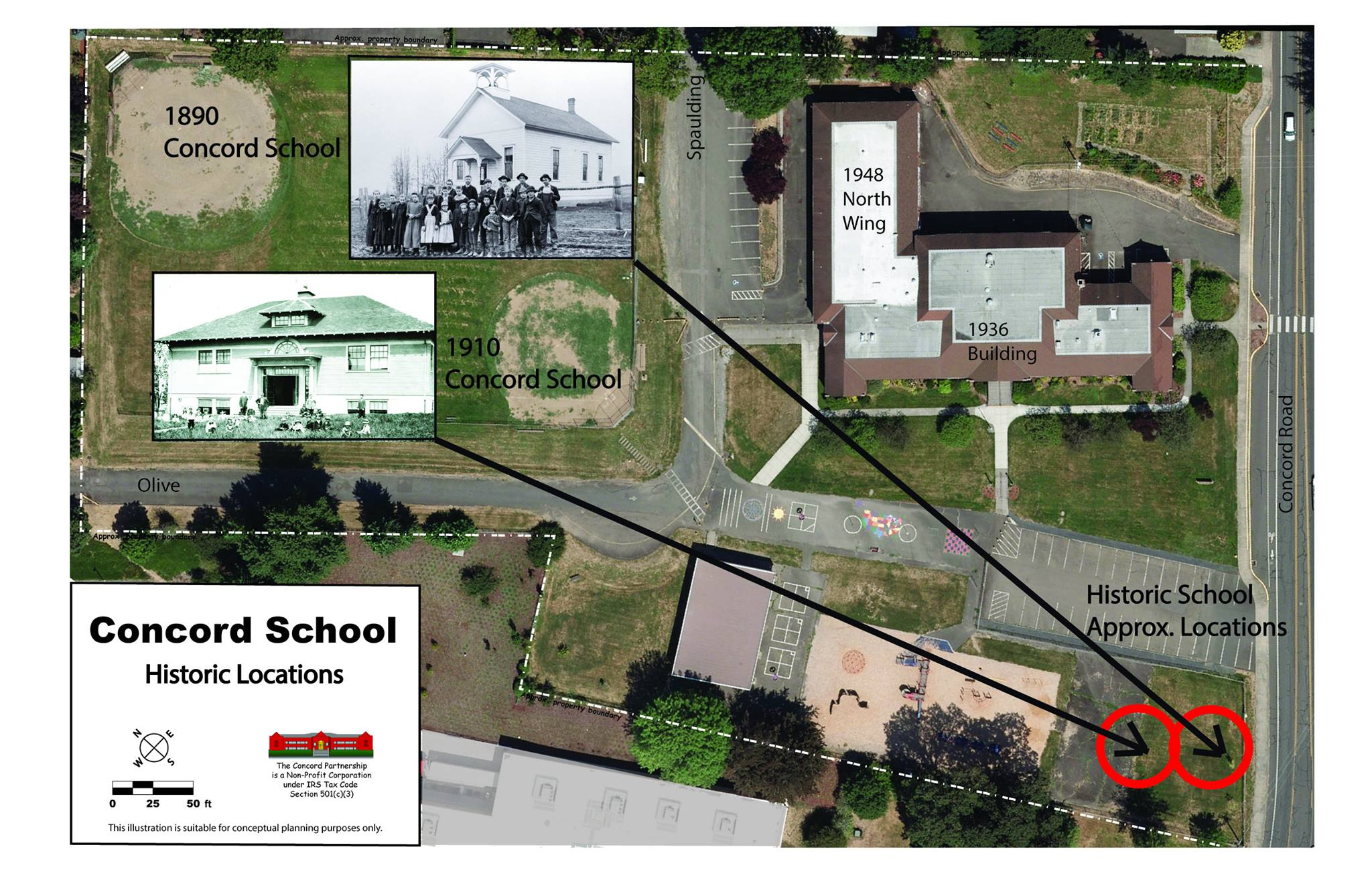 Aerial photo of Concord School with inset photos of the 18090 and 1910 buildings showing their original locations