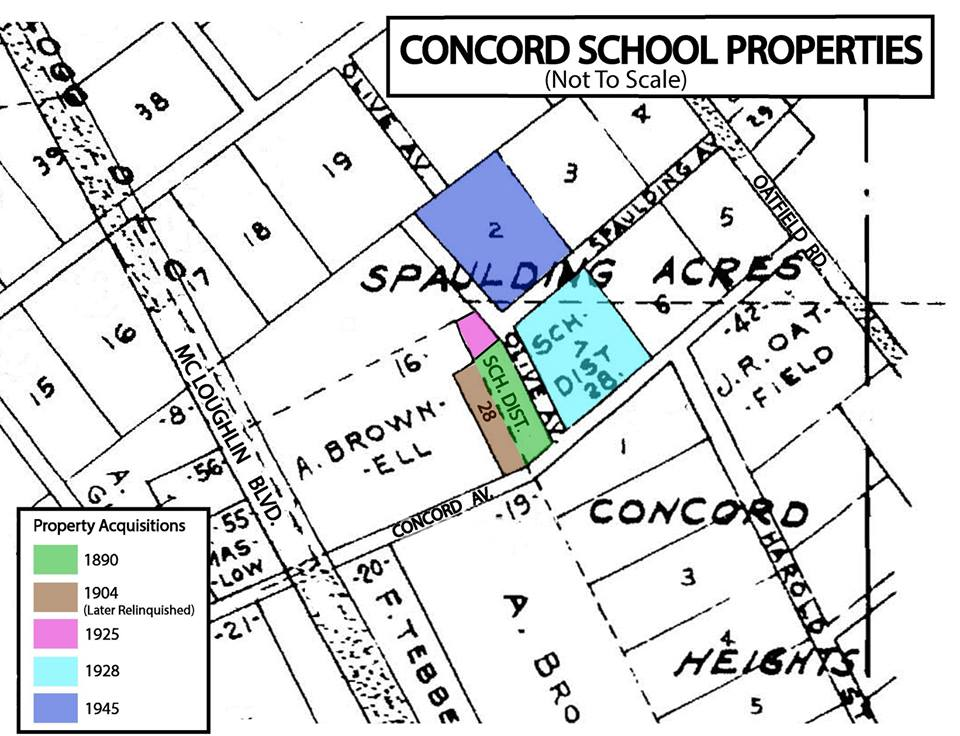 Plat map of the Concord school area, with colored shading to indicate property changes over time