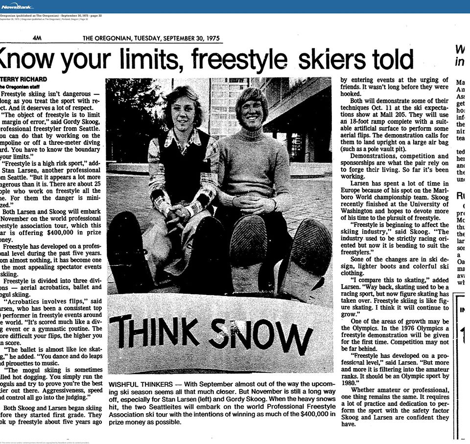 Newspaper article about freestyle skiing with photo of Gordy Skoog, 1975