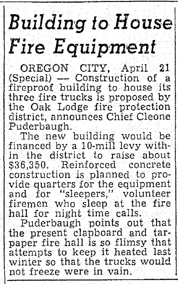 Newspaper article about Oak Lodge Fire Protection District plans to build new fire house; 1949