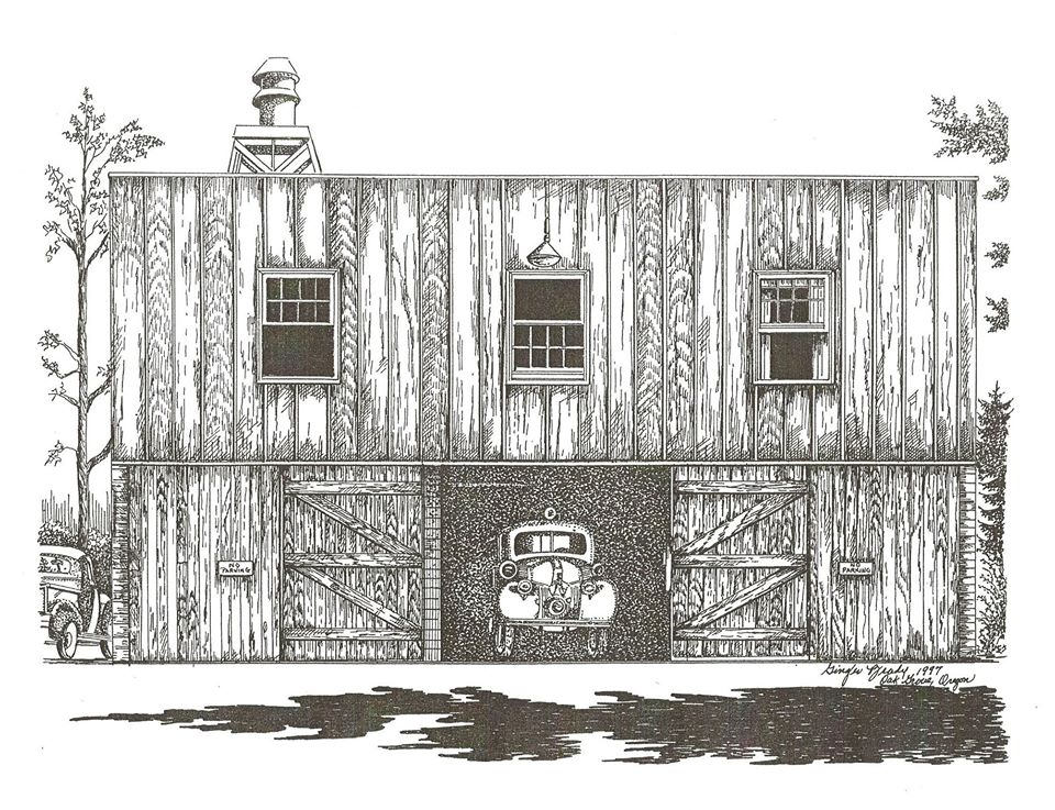 Sketch of the first Oak Grove Fire Hall, 1944-1949