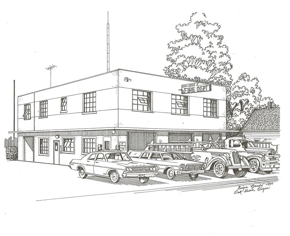 Sketch of the second Oak Grove Fire Hall, 1949-1976