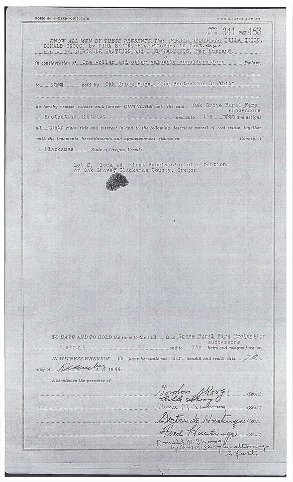Scan of Skoog family deed to Oak Grove RFPD, 1944
