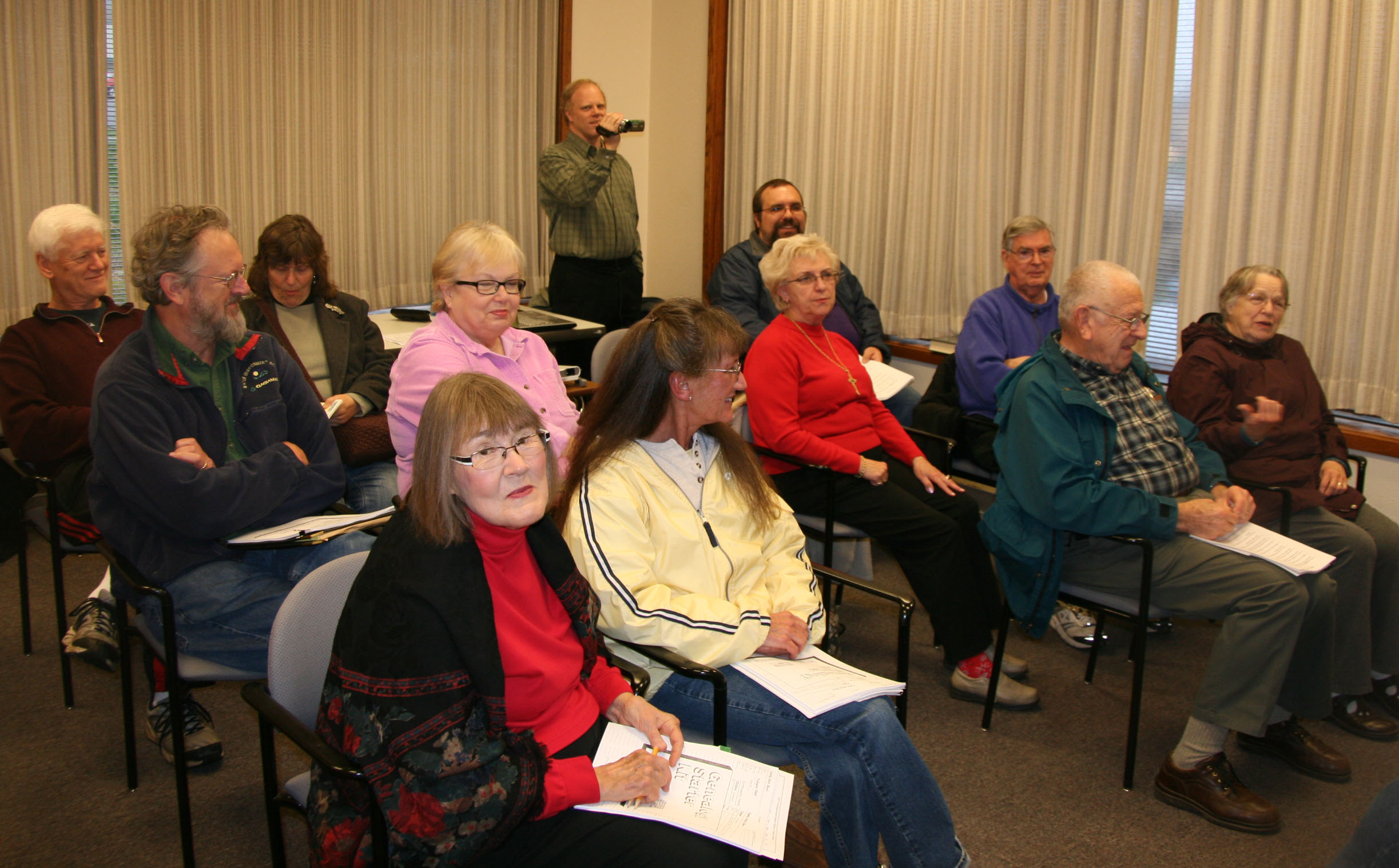 Photo of members taking the Beginner Genealogy class in the Oak Lodge Library
