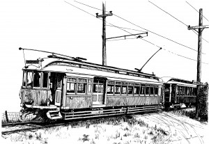 Black and white line drawing of the Estacada Trolley, by Tim Muir