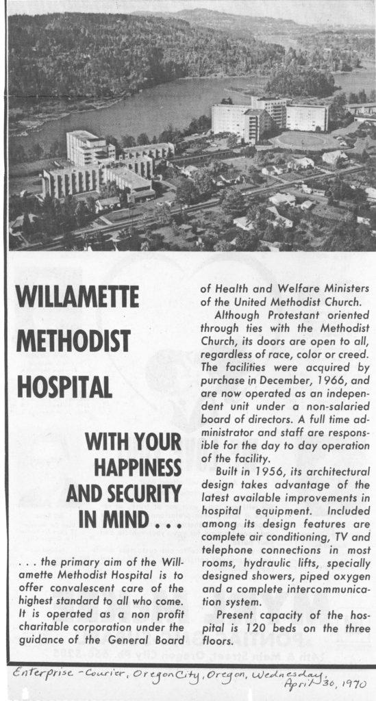 1970 newspaper advert for Willamette Methodist Hospital