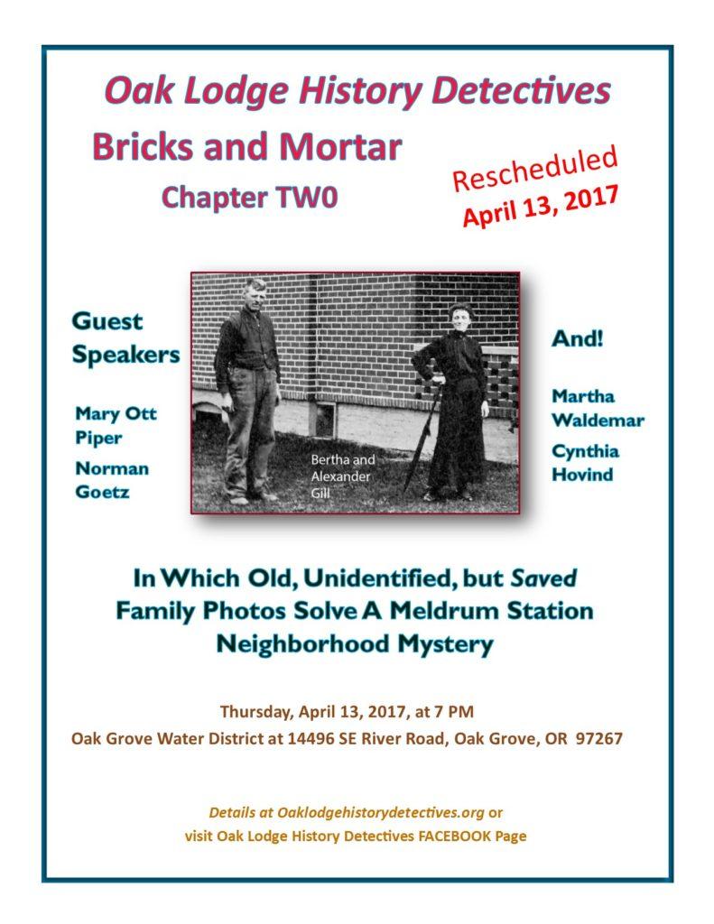 April 2017 meeting announcement for Oak Lodge History Detectives