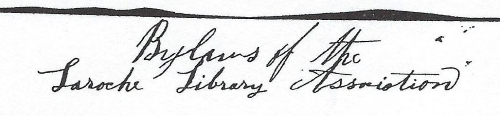 Scan of the heading for the Bylaws of the Laroche Library Association